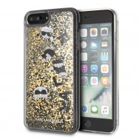 Чехол Karl Lagerfeld для iPhone 7/8 Plus Liquid glitter Floatting charms Hard Black/Gold (KLHCI8LROGO)
