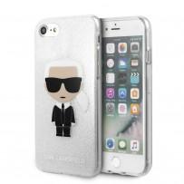 Чехол KARL Lagerfeld для iPhone 7/8/SE 2020 TPU collection Karl Iconik Hard Glitter Silver