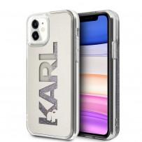 Чехол Karl Lagerfeld для iPhone 11 Liquid glitter Mirror Hard Silver