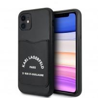 Чехол KARL Lagerfeld для iPhone 11 чехол PU Leather with cardslot Rue Saint Guillaume Hard Black