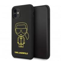 Чехол KARL Lagerfeld для iPhone 11 чехол Liquid silicone Ikonik outlines Hard Black/Yellow
