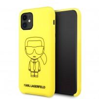 Чехол KARL Lagerfeld для iPhone 11 чехол Liquid silicone Ikonik outlines Hard Yellow/Black
