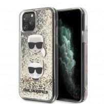 Чехол KARL Lagerfeld для iPhone 11 Pro Max Liquid glitter Karl and Choupette heads Hard Gold