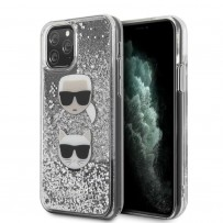 Чехол KARL Lagerfeld, для iPhone 11 Pro Max Liquid glitter Karl and Choupette heads Hard Silver