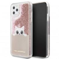 Чехол KARL Lagerfeld для iPhone 11 Pro Max чехол Liquid glitter Peek a Boo Hard Transp/Pink gold