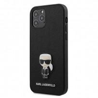 Чехол Karl Lagerfeld для iPhone 12 Pro Max PU Saffiano Ikonik Karl (metal) Hard Silver (KLHCP12LIKMSSL)