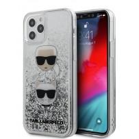 Чехол Karl Lagerfeld для iPhone 12 Pro Max Liquid glitter Karl and Choupette heads Hard Silver (KLHCP12LKCGLSL)