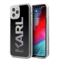 Чехол Karl Lagerfeld для iPhone 12 Pro Max Liquid Glitter Karl logo Hard Black (KLHCP12LKLMLBK)