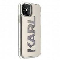 Чехол Karl Lagerfeld для iPhone 12 Pro Max Liquid Glitter Karl logo Hard Silver (KLHCP12LKLMLGR)