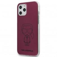 Чехол Karl Lagerfeld для iPhone 12 Pro Max PC/TPU Ikonik outlines Metallic eff Hard Pink (KLHCP12LPCUMIKPI)