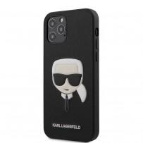 Чехол Karl Lagerfeld для iPhone 12 Pro Max PU Saffiano Karl's Head Hard Black (KLHCP12LSAKHBK)