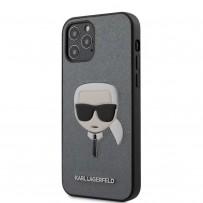 Чехол Karl Lagerfeld для iPhone 12 Pro Max PU Saffiano Karl's Head Hard Silver (KLHCP12LSAKHSL)
