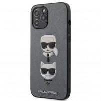 Чехол Karl Lagerfeld для iPhone 12 Pro Max PU Saffiano Karl and Choupette Hard Silver (KLHCP12LSAKICKCSL)