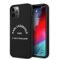 Чехол Karl Lagerfeld для iPhone 12 Pro Max (6.7) Liquid silicone RSG logo Hard Black (KLHCP12LSLSGRBK)