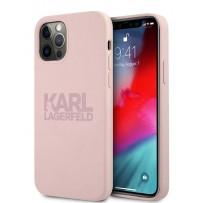 Чехол Karl Lagerfeld для iPhone 12 Pro Max (6.7) Liquid silicone stack logo Hard Pink (KLHCP12LSTKLTLP)