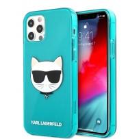 Чехол Karl Lagerfeld для iPhone 12/12 Pro (6.1) TPU FLUO Choupette Hard Transp Blue (KLHCP12MCHTRB)