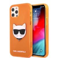 Чехол Karl Lagerfeld для iPhone 12/12 Pro (6.1) TPU FLUO Choupette Hard Transp Orange (KLHCP12MCHTRO)