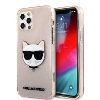 Чехол Karl Lagerfeld для iPhone 12/12 Pro (6.1) TPU Glitters Choupette Hard Transp Gold (KLHCP12MCHTUGLGO)