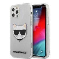 Чехол Karl Lagerfeld для iPhone 12/12 Pro (6.1) TPU Glitters Choupette Hard Transp Silver (KLHCP12MCHTUGLS)