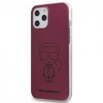 Чехол Karl Lagerfeld для iPhone 12/12 Pro PC/TPU Ikonik outlines Metallic eff Hard Pink (KLHCP12MPCUMIKPI)