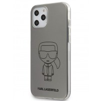 Чехол Karl Lagerfeld для iPhone 12/12 Pro PC/TPU Ikonik outlines Metallic eff Hard Silver (KLHCP12MPCUMIKSL)