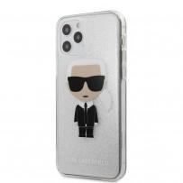 Чехол Karl Lagerfeld для iPhone 12/12 Pro PC/TPU Ikonik Karl Hard Glitter Silver (KLHCP12MPCUTRIKSL)