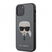 Чехол Karl Lagerfeld для iPhone 12/12 Pro чехол PU Saffiano Karl's Head Hard Silver (KLHCP12MSAKHSL)