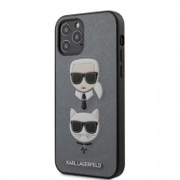 Чехол Karl Lagerfeld для iPhone 12/12 Pro чехол PU Saffiano Karl and Choupette Hard Silver (KLHCP12MSAKICKCSL)