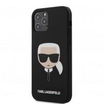 Чехол Karl Lagerfeld для iPhone 12/12 Pro чехол Liquid silicone Karl's Head Hard Black (KLHCP12MSLKHBK)