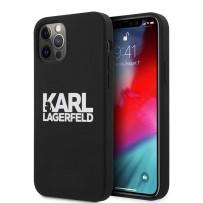 Чехол Karl Lagerfeld для iPhone 12/12 Pro (6.1) Liquid silicone stack logo Hard Black (KLHCP12MSLKLRBK)