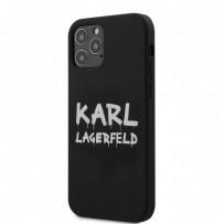 Чехол Karl Lagerfeld для iPhone 12/12 Pro чехол Liquid silicone Graffiti logo Hard White (KLHCP12MSLSTBK)