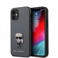 Чехол Karl Lagerfeld для iPhone 12 mini PU Saffiano Ikonik Karl (metal) Hard Silver (KLHCP12SIKMSSL)