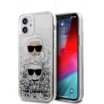 Чехол Karl Lagerfeld для iPhone 12 mini Liquid glitter Karl and Choupette heads Hard Silver (KLHCP12SKCGLSL)