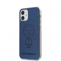 Чехол Karl Lagerfeld для iPhone 12 mini PC/TPU Ikonik outlines Metallic eff Hard Blue (KLHCP12SPCUMIKBL)