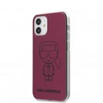 Чехол Karl Lagerfeld для iPhone 12 mini PC/TPU Ikonik outlines Metallic eff Hard Pink (KLHCP12SPCUMIKPI)