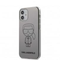 Чехол Karl Lagerfeld для iPhone 12 min PC/TPU Ikonik outlines Metallic eff Hard Silver (KLHCP12SPCUMIKSL)