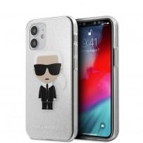 Чехол Karl Lagerfeld для iPhone 12 mini PC/TPU Ikonik Karl Hard Glitter Silver (KLHCP12SPCUTRIKSL)