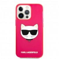 Чехол KARL Lagerfeld для iPhone 13 Pro TPU FLUO Choupette Hard Transp Pink (KLHCP13LCHTRP)