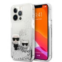 Чехол KARL Lagerfeld для iPhone 13 Pro Liquid glitter Karl & Choupette Hard Silver (KLHCP13LGKCS)