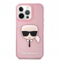 Чехол KARL Lagerfeld для iPhone 13 Pro TPU Glitters Karl's head Hard Transp Pink (KLHCP13LKHTUGLP)