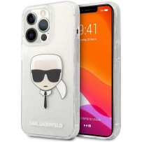 Чехол KARL Lagerfeld для iPhone 13 Pro TPU Glitters Karl's head Hard Transp Silver (KLHCP13LKHTUGLS)