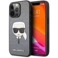 Чехол KARL Lagerfeld для iPhone 13 Pro PU Saffiano Karl's Head Hard Silver (KLHCP13LSAKHSL)
