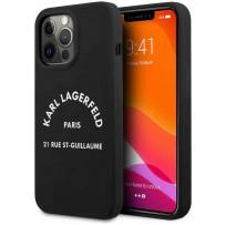 Чехол KARL Lagerfeld для iPhone 13 Pro Liquid silicone RSG logo Hard Black (KLHCP13LSLSGRBK)