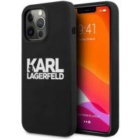 Чехол KARL Lagerfeld для iPhone 13 Pro Liquid silicone Stack logo Hard Black (KLHCP13LSLKLRBK)