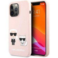 Чехол KARL Lagerfeld для iPhone 13 Pro Liquid silicone Karl & Choupette Hard Pink (KLHCP13LSSKCI)