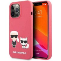 Чехол KARL Lagerfeld для iPhone 13 Pro Liquid silicone Karl & Choupette Hard Fushia (KLHCP13LSSKCP)