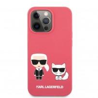 Чехол KARL Lagerfeld для iPhone 13 Liquid silicone Karl & Choupette Hard Fushia (KLHCP13MSSKCP)