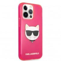 Чехол KARL Lagerfeld для iPhone 13 Pro Max TPU FLUO Choupette Hard Transp Pink (KLHCP13XCHTRP)