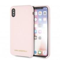 Чехол KARL Lagerfeld для iPhone X/XS Liquid silicone Gold logo Hard Light pink