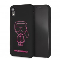 Чехол Karl Lagerfeld для iPhone XR Liquid silicone Ikonik outlines Hard Black/Pink